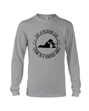 MICHIGAN GIRL LIVING IN VIRGINIA WORLD Long Sleeve Tee thumbnail