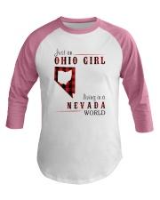 JUST AN OHIO GIRL IN A NEVADA WORLD Baseball Tee thumbnail
