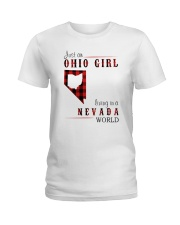 JUST AN OHIO GIRL IN A NEVADA WORLD Ladies T-Shirt thumbnail