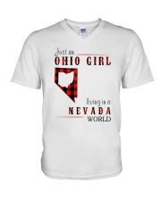 JUST AN OHIO GIRL IN A NEVADA WORLD V-Neck T-Shirt thumbnail