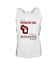 JUST A MICHIGAN GIRL IN A WISCONSIN WORLD Unisex Tank thumbnail