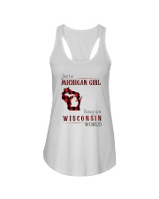 JUST A MICHIGAN GIRL IN A WISCONSIN WORLD Ladies Flowy Tank thumbnail