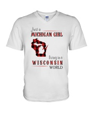 JUST A MICHIGAN GIRL IN A WISCONSIN WORLD V-Neck T-Shirt thumbnail