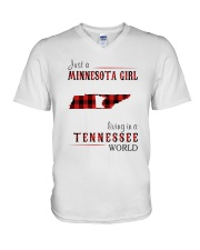 JUST A MINNESOTA GIRL IN A TENNESSEE WORLD V-Neck T-Shirt thumbnail