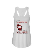 JUST A WASHINGTON GIRL IN A WISCONSIN WORLD Ladies Flowy Tank thumbnail