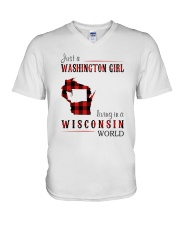 JUST A WASHINGTON GIRL IN A WISCONSIN WORLD V-Neck T-Shirt thumbnail