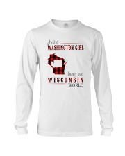 JUST A WASHINGTON GIRL IN A WISCONSIN WORLD Long Sleeve Tee tile