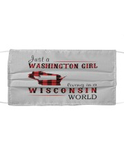 JUST A WASHINGTON GIRL IN A WISCONSIN WORLD Cloth face mask thumbnail