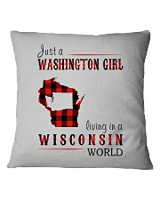 JUST A WASHINGTON GIRL IN A WISCONSIN WORLD Square Pillowcase thumbnail