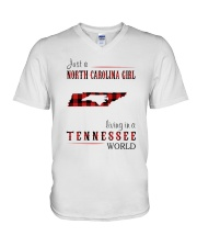 JUST A NORTH CAROLINA GIRL IN A TENNESSEE WORLD V-Neck T-Shirt thumbnail