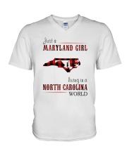 JUST A MARYLAND GIRL IN A NORTH CAROLINA WORLD V-Neck T-Shirt thumbnail