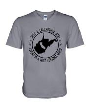 CALIFORNIA GIRL LIVING IN WEST VIRGINIA WORLD V-Neck T-Shirt thumbnail