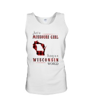 JUST A MISSOURI GIRL IN A WISCONSIN WORLD Unisex Tank thumbnail