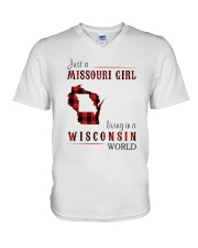 JUST A MISSOURI GIRL IN A WISCONSIN WORLD V-Neck T-Shirt thumbnail