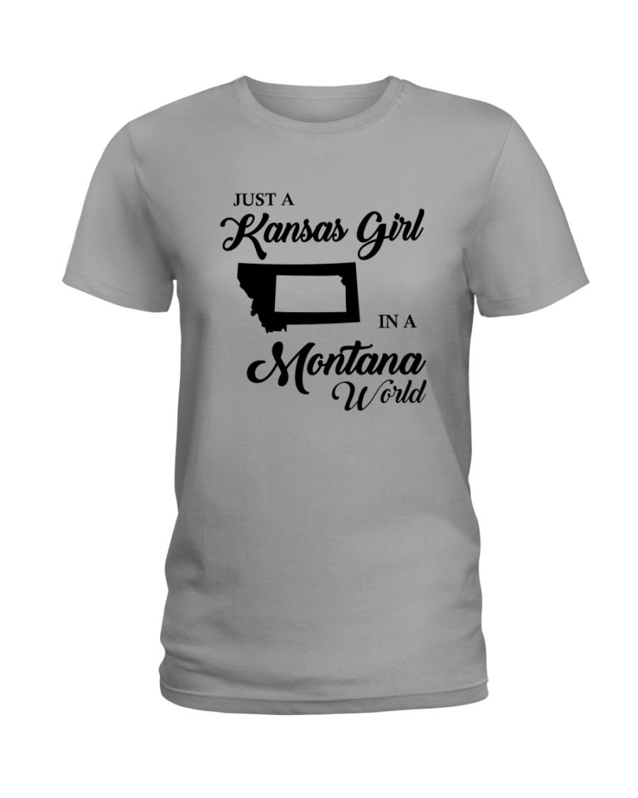 JUST A KANSAS GIRL IN A MONTANA WORLD Ladies T-Shirt