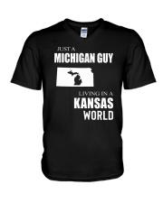 JUST A MICHIGAN GUY IN A KANSAS WORLD V-Neck T-Shirt thumbnail