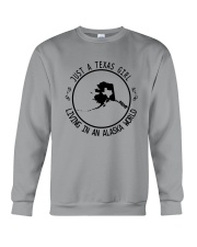 TEXAS GIRL LIVING IN ALASKA WORLD Crewneck Sweatshirt thumbnail