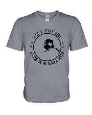 TEXAS GIRL LIVING IN ALASKA WORLD V-Neck T-Shirt thumbnail