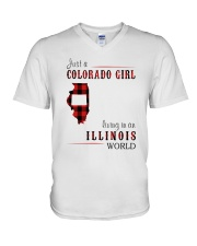 JUST A COLORADO GIRL IN AN ILLINOIS WORLD V-Neck T-Shirt thumbnail