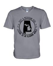 MICHIGAN GIRL LIVING IN ALABAMA WORLD V-Neck T-Shirt thumbnail