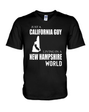 JUST A CALIFORNIA GUY IN A NEW HAMPSHIRE WORLD V-Neck T-Shirt thumbnail