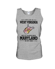 LIVE IN WEST VIRGINIA BUT MARYLAND IN MY DNA Unisex Tank thumbnail
