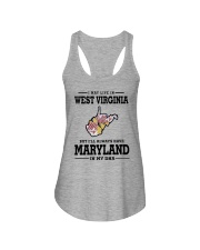 LIVE IN WEST VIRGINIA BUT MARYLAND IN MY DNA Ladies Flowy Tank thumbnail