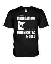 JUST A MICHIGAN GUY IN A MINNESOTA WORLD V-Neck T-Shirt tile