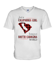 JUST A CALIFORNIA GIRL IN A SOUTH CAROLINA WORLD V-Neck T-Shirt thumbnail