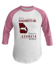 JUST A MASSACHUSETTS GIRL IN A GEORGIA WORLD Baseball Tee thumbnail