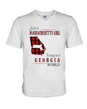 JUST A MASSACHUSETTS GIRL IN A GEORGIA WORLD V-Neck T-Shirt thumbnail