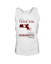 JUST A TEXAS GIRL IN A MASSACHUSETTS WORLD Unisex Tank thumbnail