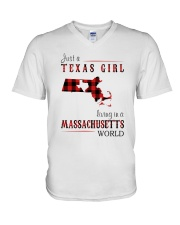 JUST A TEXAS GIRL IN A MASSACHUSETTS WORLD V-Neck T-Shirt thumbnail