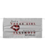 JUST A TEXAS GIRL IN AN ILLINOIS WORLD Cloth face mask thumbnail