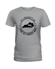 MASSACHUSETTS GIRL LIVING IN KENTUCKY WORLD Ladies T-Shirt thumbnail