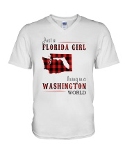 JUST A FLORIDA GIRL IN A WASHINGTON WORLD V-Neck T-Shirt thumbnail