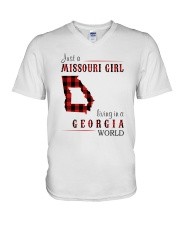 JUST A MISSOURI GIRL IN A GEORGIA WORLD V-Neck T-Shirt tile