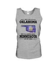 LIVE IN OKLAHOMA BUT I'LL HAVE MINNESOTA IN MY DNA Unisex Tank thumbnail