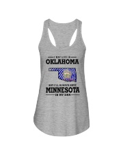 LIVE IN OKLAHOMA BUT I'LL HAVE MINNESOTA IN MY DNA Ladies Flowy Tank thumbnail