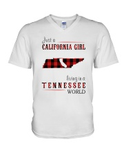 JUST A CALIFORNIA GIRL IN A TENNESSEE WORLD V-Neck T-Shirt thumbnail