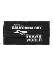 JUST A CALIFORNIA GUY IN A TEXAS WORLD Cloth face mask thumbnail
