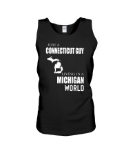 JUST A CONNECTICUT GUY IN A MICHIGAN WORLD Unisex Tank thumbnail
