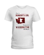 JUST A MINNESOTA GIRL IN A WASHINGTON WORLD Ladies T-Shirt thumbnail