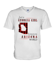 JUST A GEORGIA GIRL IN AN ARIZONA WORLD V-Neck T-Shirt thumbnail