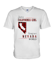 JUST A CALIFORNIA GIRL IN A NEVADA WORLD V-Neck T-Shirt thumbnail