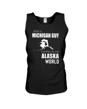 JUST A MICHIGAN GUY IN AN ALASKA WORLD Unisex Tank thumbnail