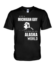 JUST A MICHIGAN GUY IN AN ALASKA WORLD V-Neck T-Shirt thumbnail