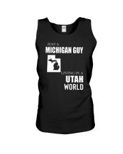 JUST A MICHIGAN GUY IN A UTAH WORLD Unisex Tank thumbnail