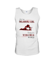 JUST AN OKLAHOMA GIRL IN A VIRGINIA WORLD Unisex Tank thumbnail