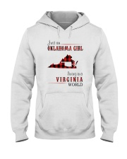 JUST AN OKLAHOMA GIRL IN A VIRGINIA WORLD Hooded Sweatshirt front